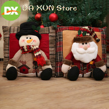 Hot selling New Christmas Burlap Pillow Merry Home Decorations Snoeman Santa claus Pillows ornaments decor stuff
