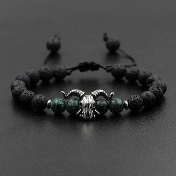 Natural pedra lava pulseira elástica aço inoxidável animal coruja cabra charme frisado trança pulseira & pulseira jóias para homem