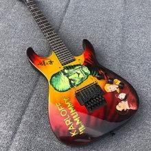 Guitarra elétrica de alta qualidade em forma especial de 6 cordas, imagens desenhadas à mão, pintadas à mão, acessórios de balanço duplo preto, posta