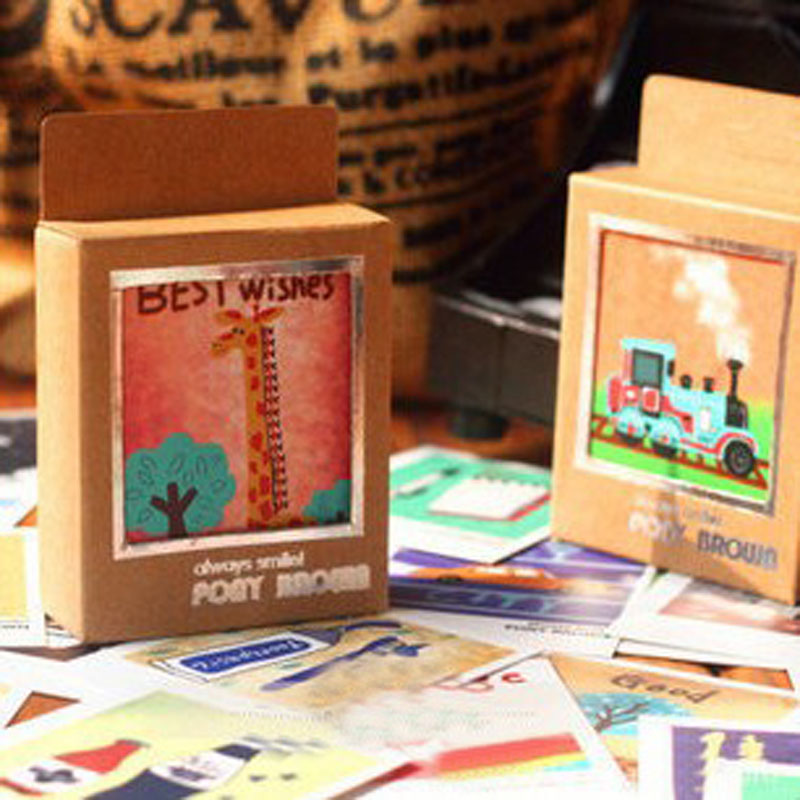 40Sheets/Pack Hot Sale Vintage Cartoon Animals Mini Lomo Card Greeting Card Postcard Birthday Letter Envelope Gift Card