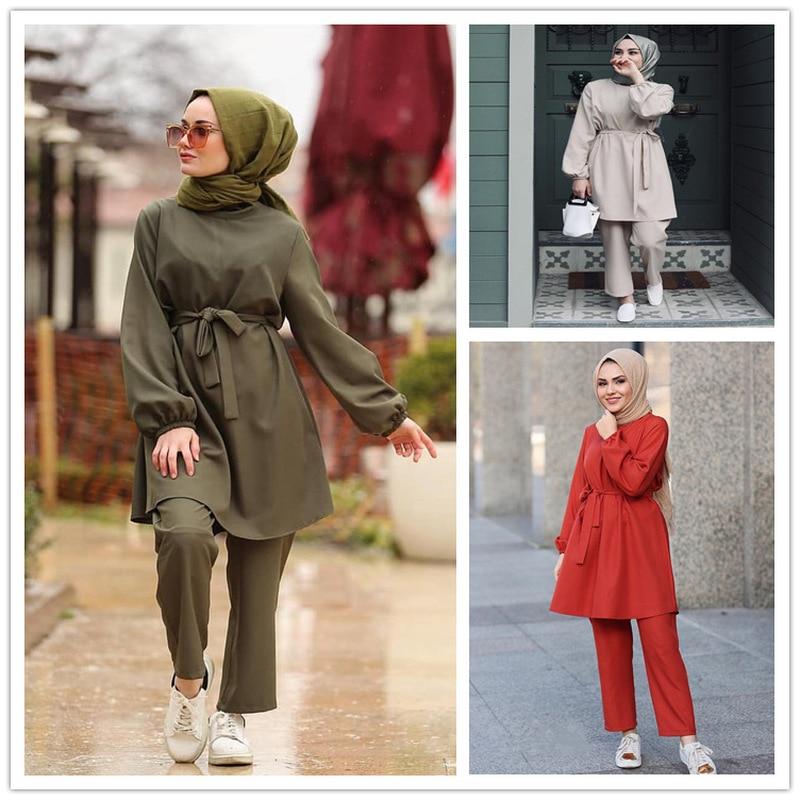 Two Piece Sets Tops And Pants Women Dubai Muslim Abaya Lace-up 2 Pieces Sets Kaftan Islam Turkish Islamic Clothing Dress Sets