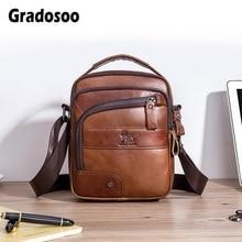 Gradosoo Simple Design Men Messenger Bag Leather Small Shoulder Crossbody Bags For Classic Business Handbags Male HMB668