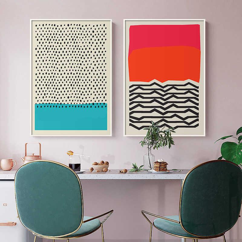 الحديث متعدد الألوان مجردة هندسية الرسم على لوحات القماش الجدارية صورة الملصقات والمطبوعات معرض الاطفال المطبخ ديكور المنزل
