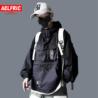 AELFRIC Hip Hop Men Cargo Jackes Letter Printed 2019 Autumn Fashion Casual Pullover Streetwear Harajuku Multi Pockets Male Coats