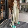 Casual Hosen Frauen Seitlichem Striped Chic Lose Koreanischen Stil Ulzzang Vintage Gerade Studenten Freizeit Femme Hosen Einfache Sommer