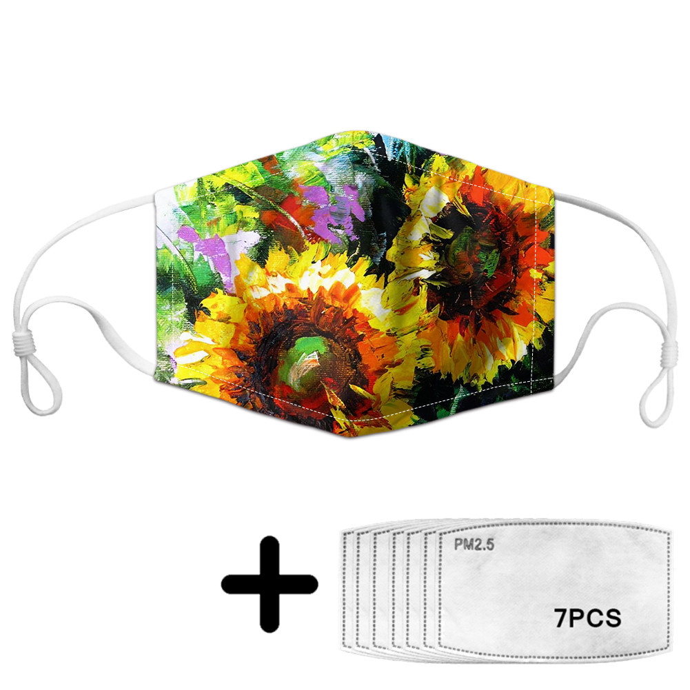 Art Sunflower Print Unisex Dust Mask For Adult Kids With Floral Custom Design Outdoor Sport Mouth Face Masks Reusable Mascara