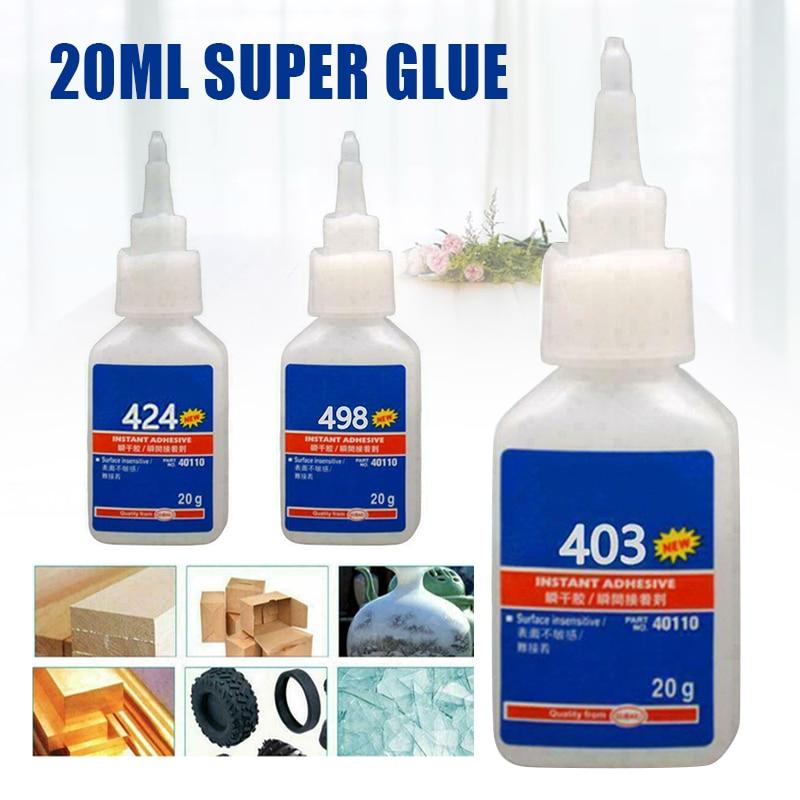1pcs 20ml Super Glue Adhesive 403/498/424 High Strength Super Glue Instant Adhesive For Metal Plastic Wood Use