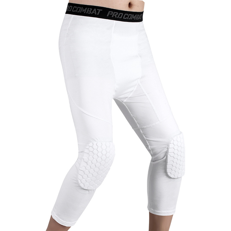Basketball Sports Pants Honeycomb Kneepads Cropped Sports Pants