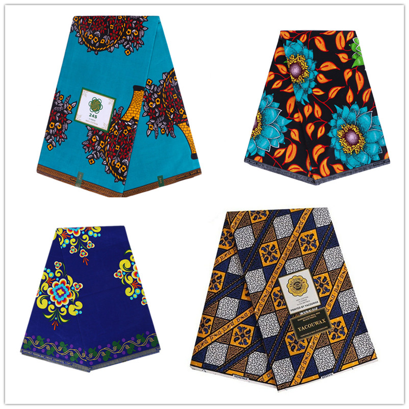 Ankara Fabric African Real Wax Print Tissu Africain 100% Cotton 6 Yards Veritable Wax African Batik Fabric For Evening Prom Gown