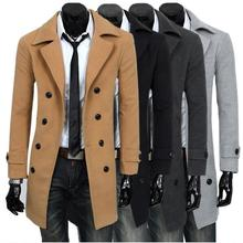 2019 New Long Slim Man Wool Trench Coat Men Double Flap Windbreaker Male Fashion Autumn Winter Design