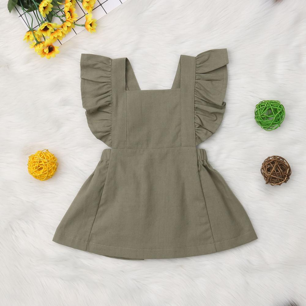 Didi Kids Summer Casual Cute Infant Kids Baby Girl Summer Solid Color Ruffle Princess Party Dress Clothes