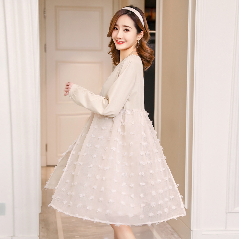 Autumn Gauze Dresses Maternity Clothes For Pregnant Women Long Sleeve Vestidos Pregnancy Dress Pregnant Mother Clothing Spring