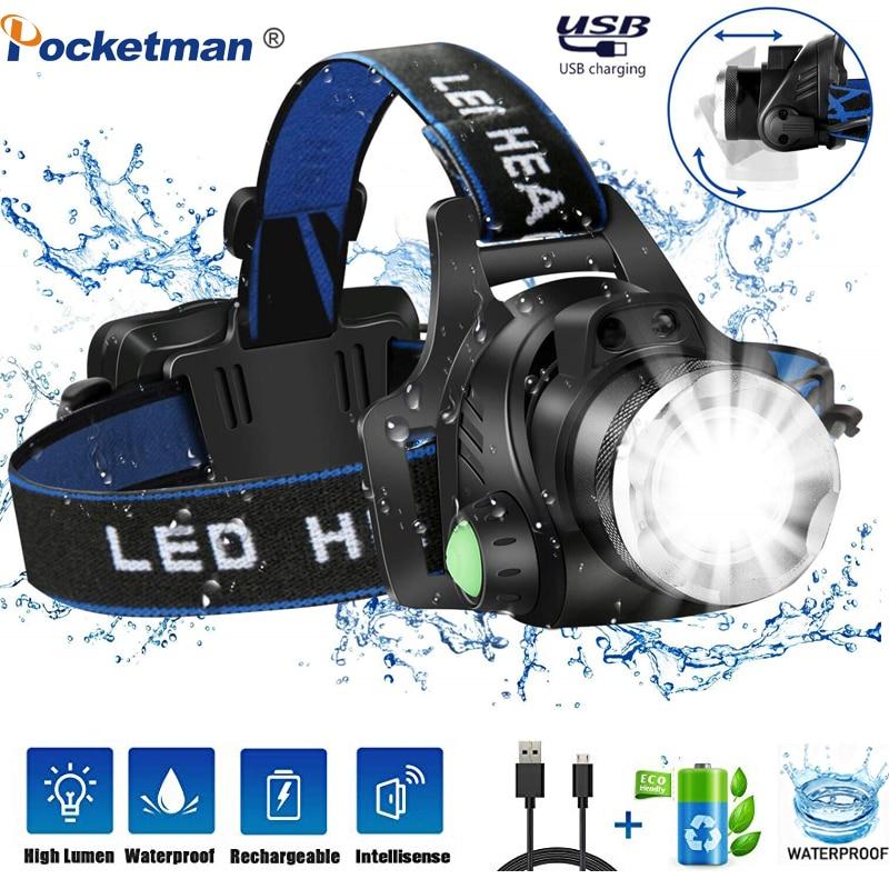 Super Bright LED Headlamp Body Motion Sensor T6/L2/V6 USB Rechargeable LED Headlight Torch Headlamp Lanterna Light Camping Fish