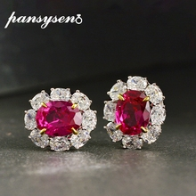 PANSYSEN Top Quality Solid 925 Sterling Silver Ruby Diamond Earrings for Women White Gold Color Stud Earrings Fine Jewelry Gift