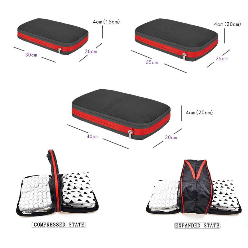 Men Women Compression Packing Cubes Travel Luggage Organizer Waterproof Packing Cubes Large Capacity Foldable Nylon Travel Bag