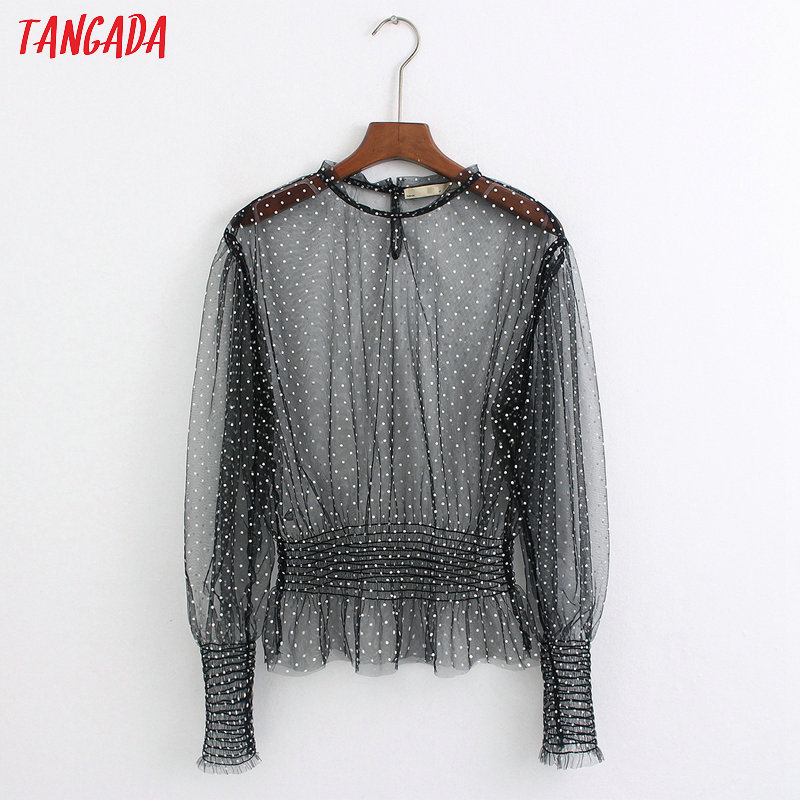 Tangada Women Dots Pattern Black Mesh Blouse Fashion Transparent Long Sleeve Tunic Strethy Waist Shirts Chic Tops 6Z36