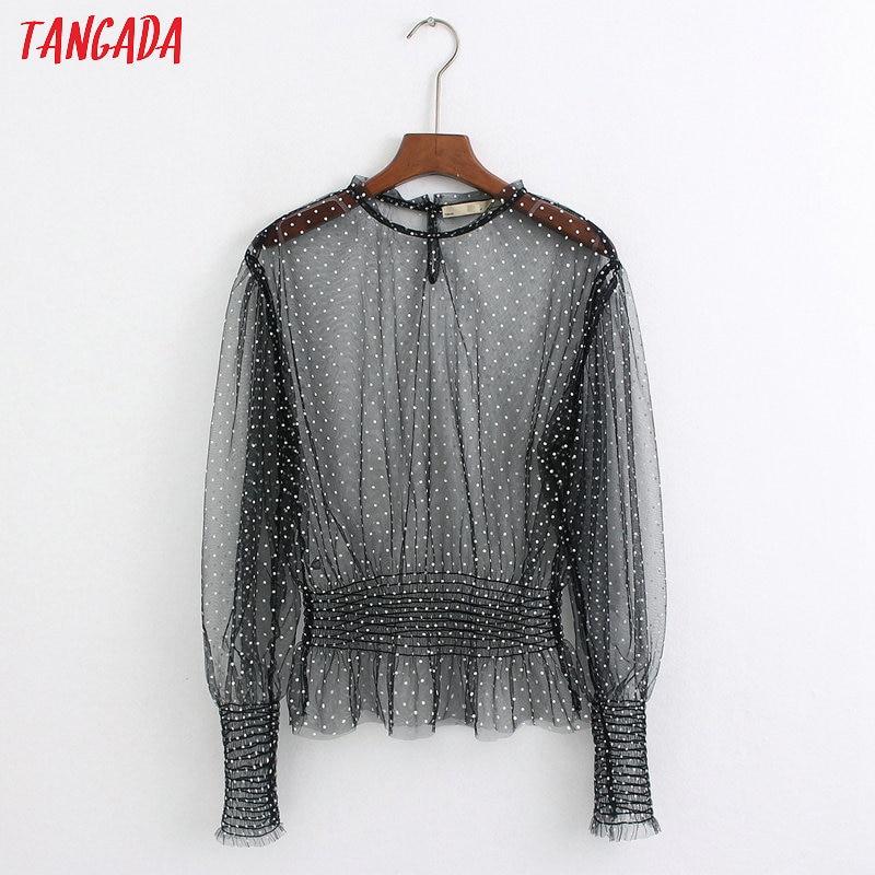 Tangada Women Dots Pattern Black Mesh Blouse Fashion Transparent Long Sleeve Tunic Strethy Waist Shirts Chic Tops 6Z36