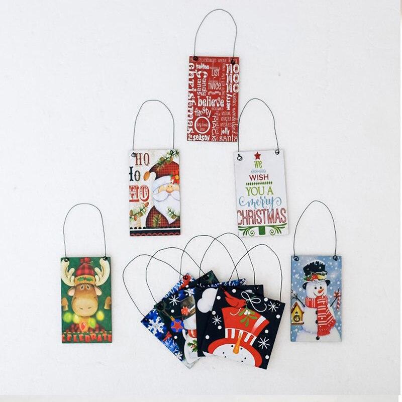 Рождественские деревянные подвесные украшения, поделки из дерева, рождественские украшения, елочные украшения - 3