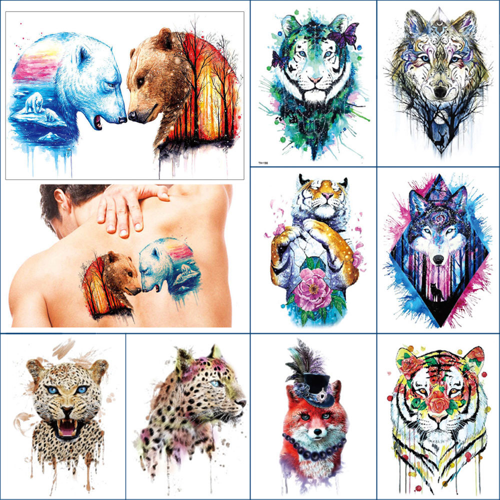 Temporary Waterproof Tattoo Sticker Tigers Leopards Foxes Wolf Body Art Color Lasting Fake Tattoo For Thigh Arm Body Sexy Woman