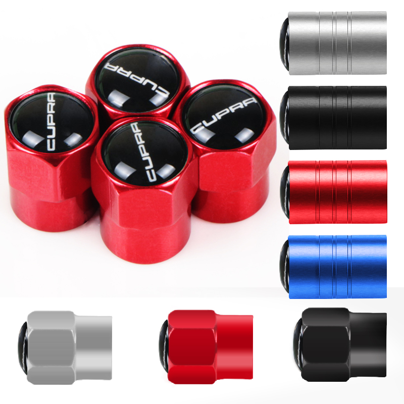 4pcs/set Car Wheel Tire Valves Tyre Caps Case For Seat Leon Ibiza Cupra Altea Belt Racing