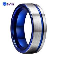 Мужское и женское вольфрамовое обручальное кольцо синего цвета