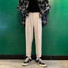 Pantalones harén de algodón para hombre, pantalón informal, entallado, de alta calidad, en Color blanco y negro, talla grande, S 3XL, 2020