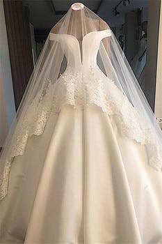 Vestido de novia con hombros descubiertos, excelente Vestido de novia con apliques, velo 2020 no incluido