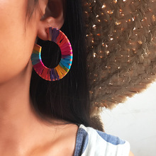 Creative fashion charming personality earrings round Raffia female models color simple jewelry accessories new