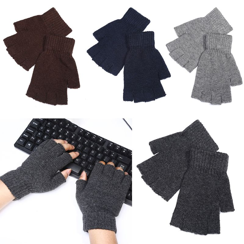 Men Faux Wool Knitted Half Finger Gloves Stretchy Winter Warm Fingerless Mittens 95AB