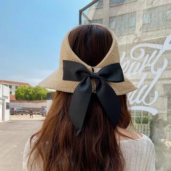 New Summer Bow Sun Hats Empty Top Hat Women UV Protction Caps Cutout Beach Hat Women Sun Cap Ribbon Knit Raffia Hat Sun Hat 2