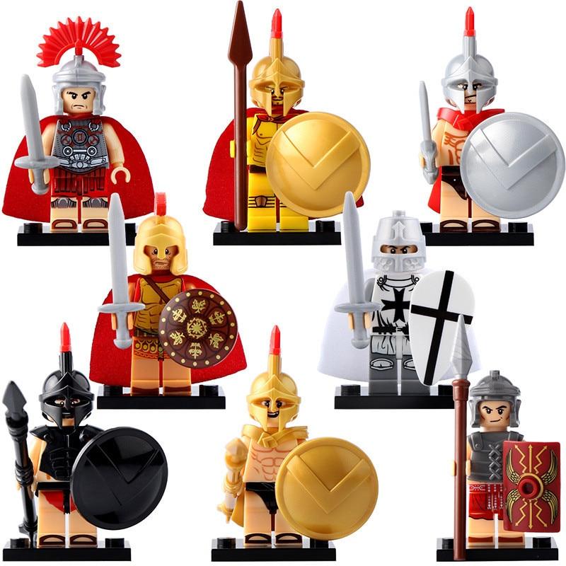 8pcs/Set Spartan Warriors Roman Crusader Puzzle Legoed Assembling Building Blocks Kit Toys Kids Gifts