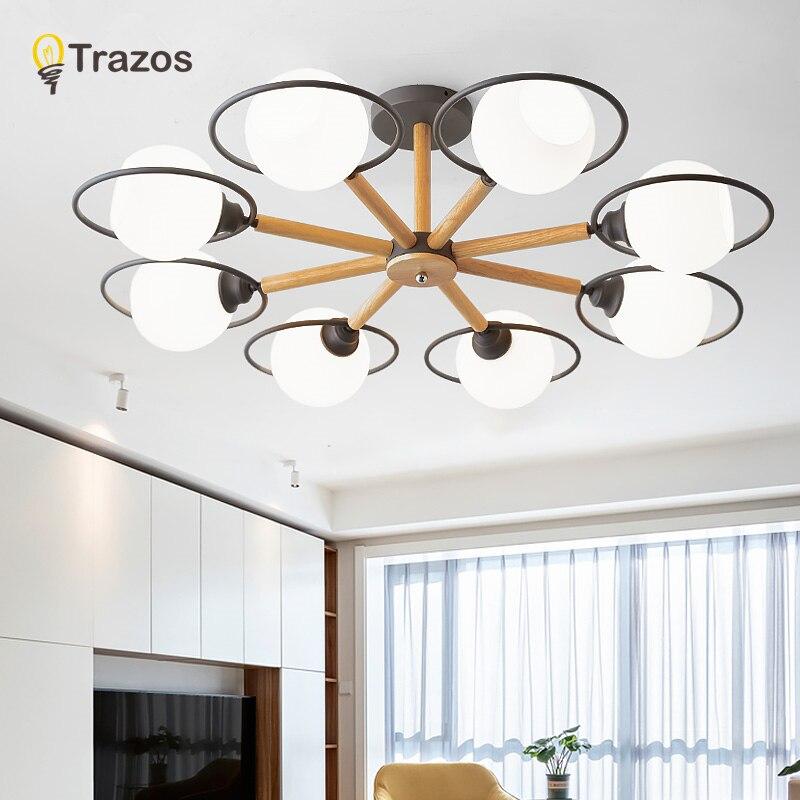 TRAZOS nowoczesne lampy sufitowe LED do lampa sufitowa do salonu projektant drewna metalowa powierzchnia zamontowane oświetlenie sypialni