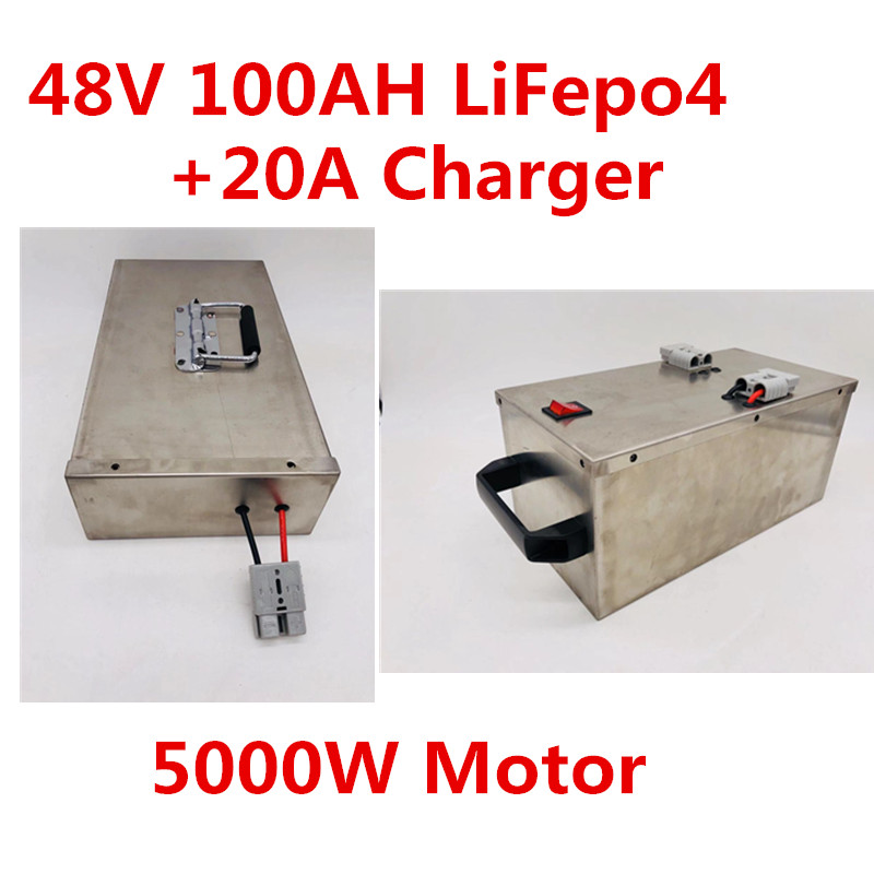 2pcs/Lot <font><b>48V</b></font> 100Ah with 100A BMS Lifepo4 <font><b>Battery</b></font> for RV EV E Motor 5000w Boat Motor Power Solar Storage Energy Stainless Case image