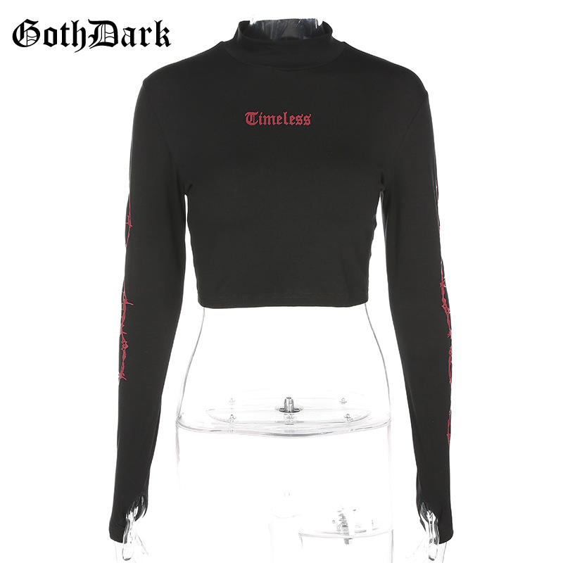 Goth Dark Black Print Longsleeve Grugne Gothic Tshirt Harajuku Fashion Skinny Fall 2019 Aesthetic Women 39 s T shirt Cropped Top in T Shirts from Women 39 s Clothing