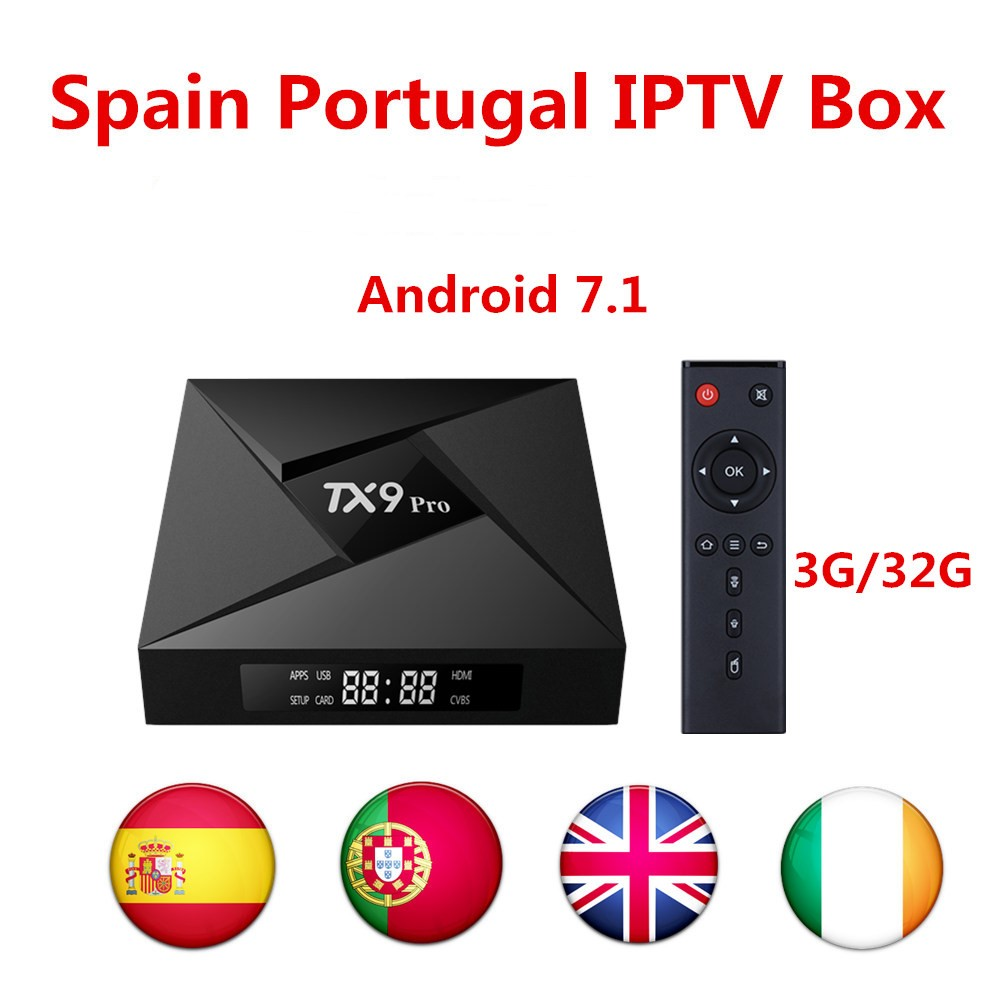 TX9 PRO IPTV box Android 7.1 tv box Amlogic s912 best Spanish iptv Europe Portugal France UK Turkey vod smart tv box(China)