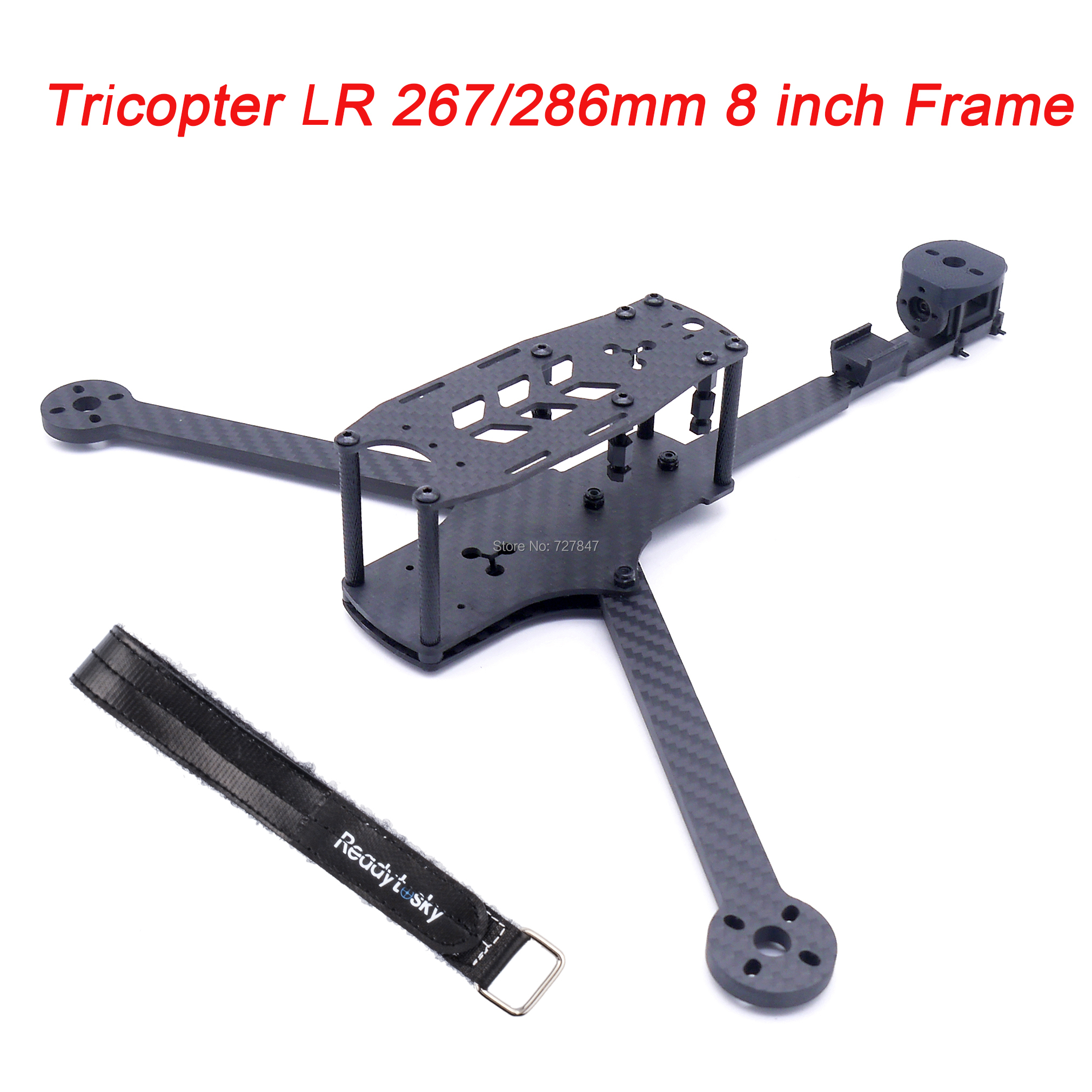 NEW Tricopter LR 267 / 286mm 8 Inch 3 Axis Y Type Pure Carbon Fiber Frame With 5mm Arm For RC FPV Racing Drone