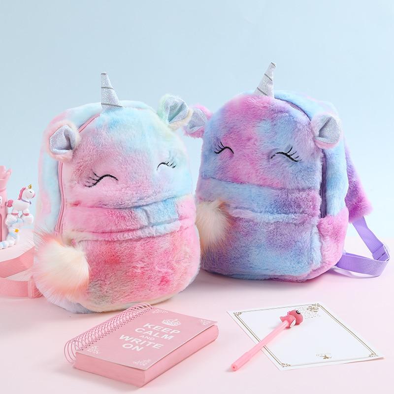 Cute Cartoon Backpack Girl Plush Unicorn Backpacks Cute Fashion Fur Backpacks Children Schoolbag Kids Gift Book Bag