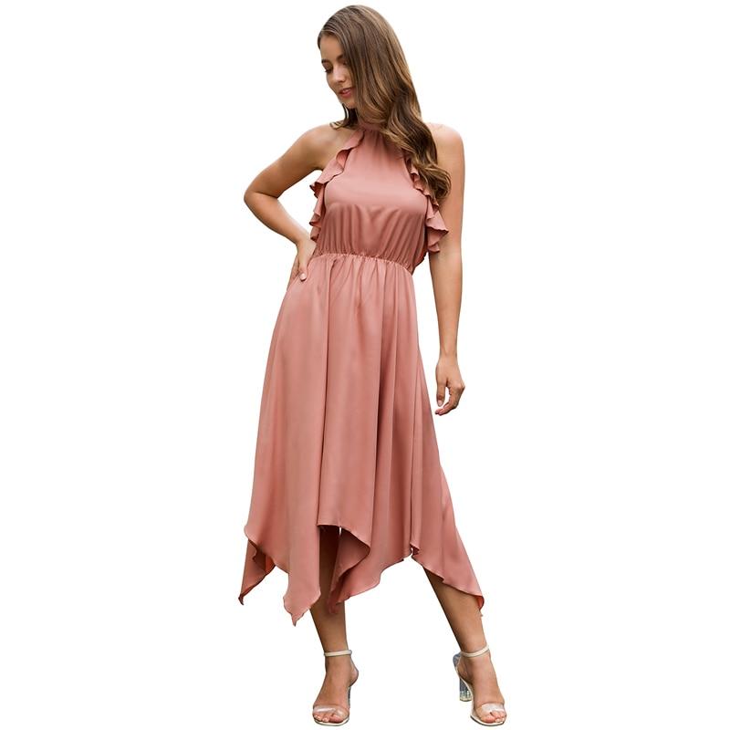 Sexy summer women dress fashion ruffle halter pink dress female high waist backless irregular drsses in Dresses from Women 39 s Clothing