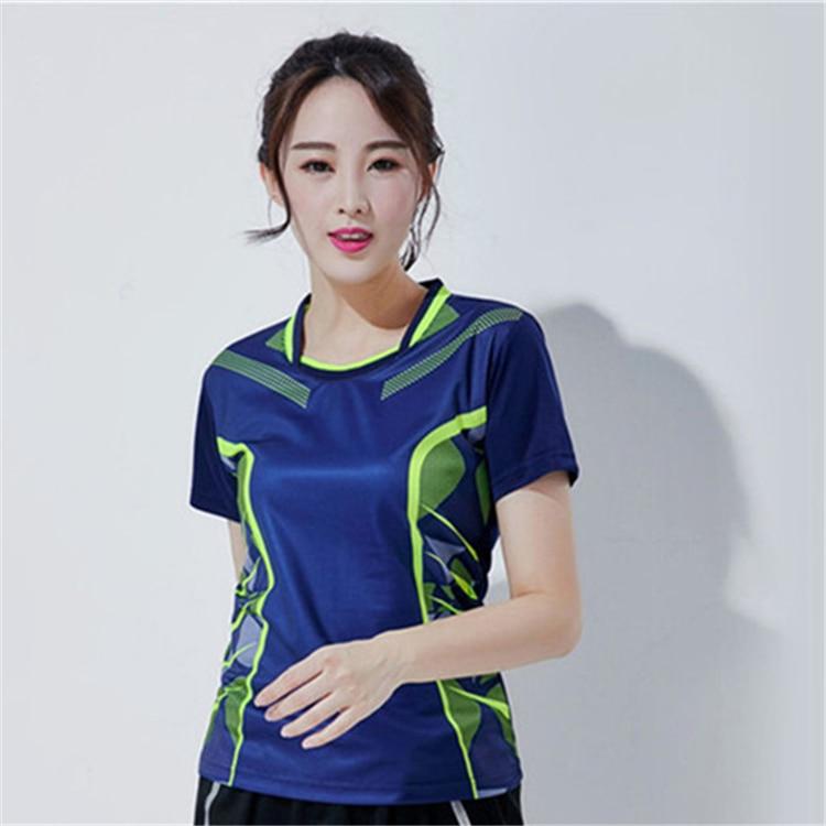 Быстросохнущая, впитывающая пот и дышащая рубашка для бадминтона, топ для соревнований, тренировочный костюм для бега, мужской и женский короткий рукав - Цвет: 1809Bfemale1