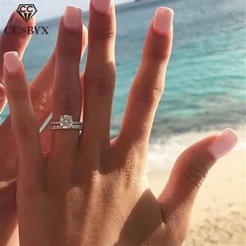 CC Couple Rings For Women Bridal Wedding Engagement Ring Cubic Zirconia Sets Jewelry Trendy Accessories Bague CC2391(China)