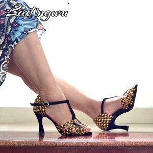 Ladingwu танцевальная обувь для бальных танцев кожаные туфли для латинских танцев Женская Профессиональная танцевальная обувь для сальсы 2019 новые танцевальные Сандалии 9 см