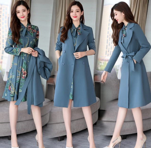 Office Ladies Pink Black Blue Dresses Suit for Women Long Trench Coat and Floral Dress 2 Pieces Set Womens Casual Dress Suits