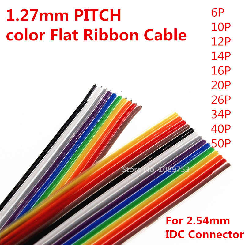 1 metr 10 P/12 P/14 P/16 P/20 P/26 P/34 P/40 P/50 P 1.27mm PITCH kolor płaski kabel taśmowy Rainbow przewód dupont dla FC złącze dupont