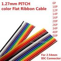 1 metro 10 p/12 p/14 p/16 p/20 p/26 p/34 p/40 p/50 p 1.27mm passo cor plana fita cabo arco-íris dupont fio para fc conector Dupont