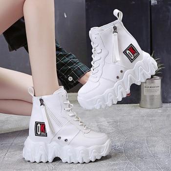 2021 nuevas de cuero botas de plataforma de las mujeres del dedo del pie redondo botas de Mujer de diseño negro tobillo botas de Mujer Botines Rojos Mujer 35-39