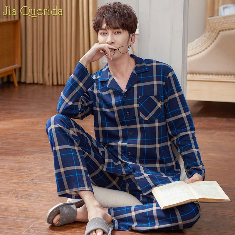 Men Sleepwear Winter Autumn Long Sleeves Pajama Set 100% Cotton Night Wear High Quality Brand Home Suits Plus Size Pajamas Male