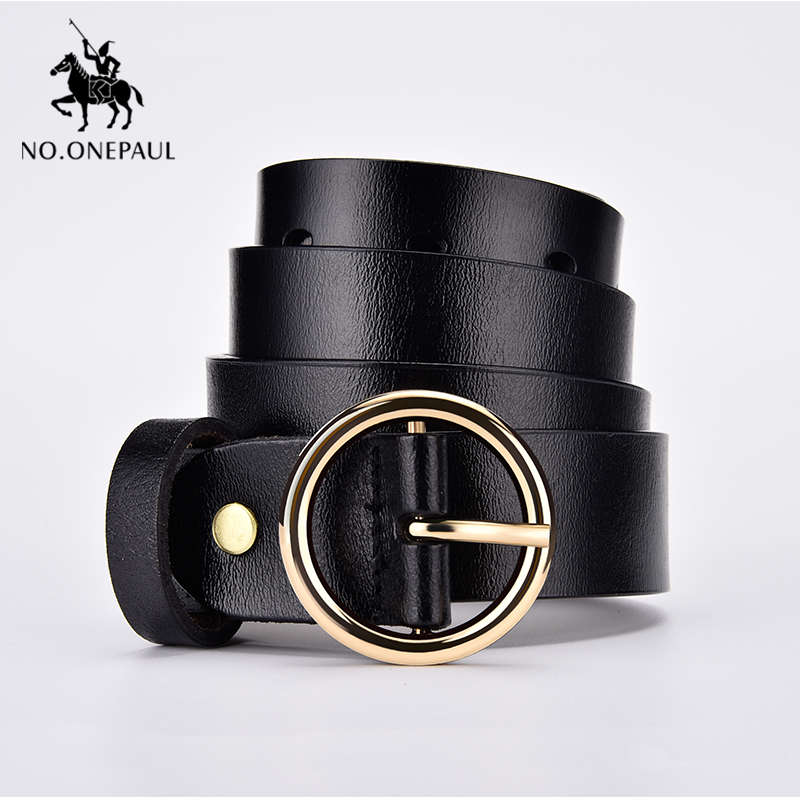 NO.ONEPAUL Jean Belt Female Thin Belt Decoration Silver Round Pin Buckle Trend Simple High Quality Personality Multi Style Belt