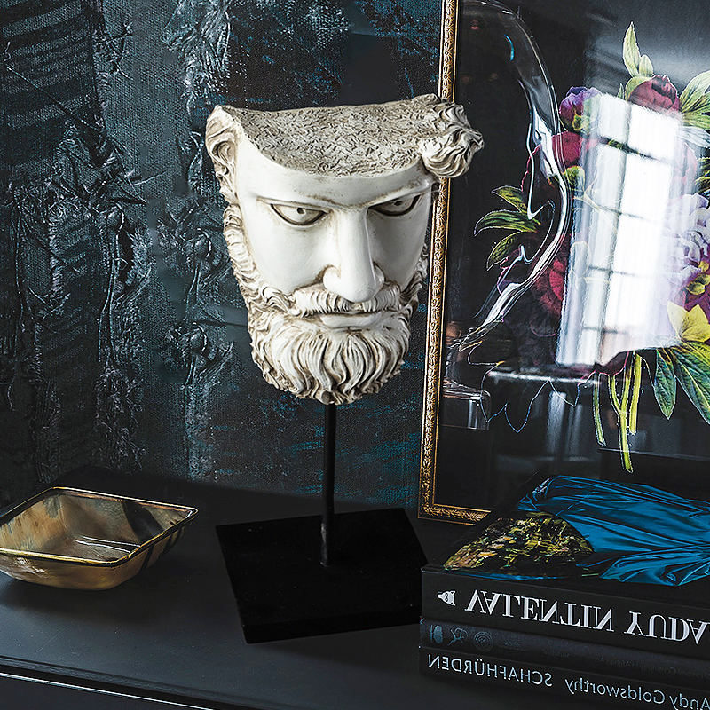 Accessoires de décoration pour la maison personnage mythique grec prométhée demi visage Figurine salon ornement objets résine Sculpture cadeaux