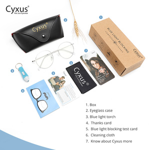 Image 5 - Cyxus Gafas de ordenador con bloqueo de luz azul para hombre y mujer, anteojos con protección UV, Anti tensión ocular, montura redonda de Metal coreana, para videojuegos, 8090
