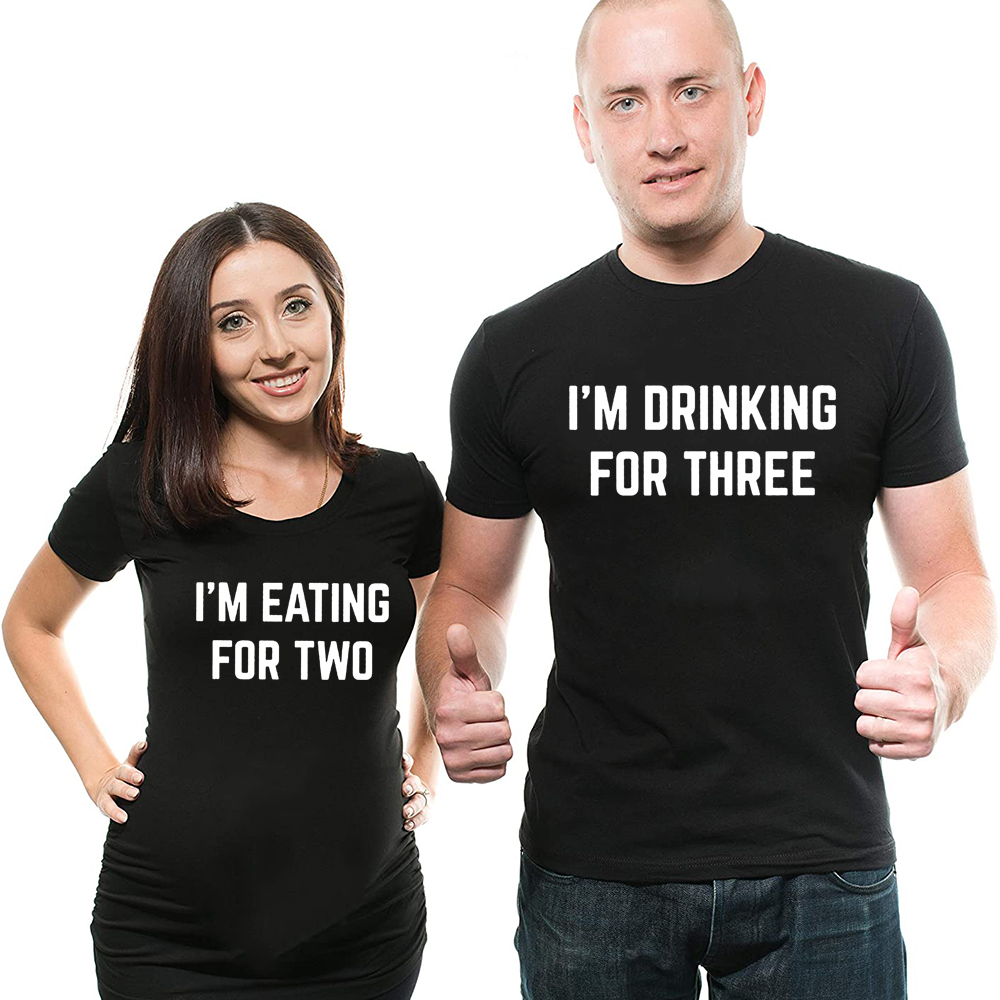 I'm Eating for Two I'm Drinking for Three Couples T-Shirt Baby Annoucement Shirts Mom and Dad Matching Shirt Pregnancy Reveal